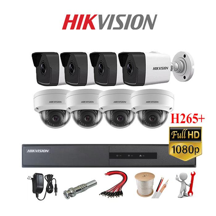 Trọn gói bộ 08 mắt Camera IP Hikvision 2MP-1080P