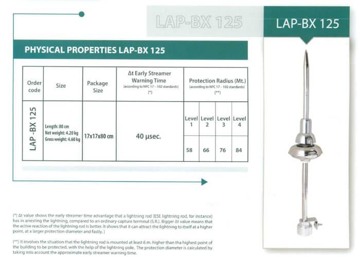 Kim thu sét LIVA BX125, bán kính bảo vệ 84m