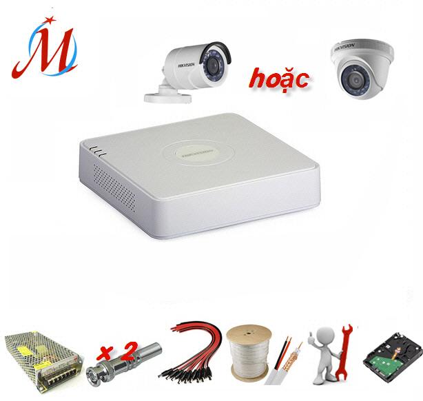 Trọn bộ 1 camera Hikvision 1.0 Megapixel - KM 10m dây cáp đồng trục