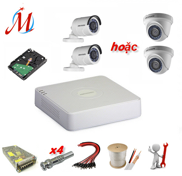 Trọn bộ 2 camera Hikvision 1.0 Megapixel - KM 20m dây cáp đồng trục