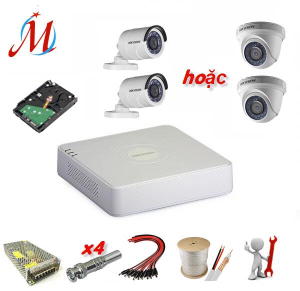 Trọn bộ 2 camera Hikvision 2.0 Megapixel - KM 20m dây cáp đồng trục