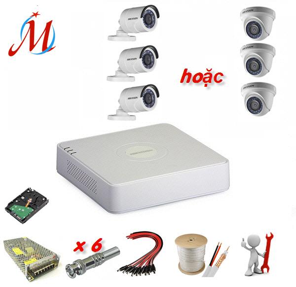 Trọn bộ 3 camera Hikvision 1.0 Megapixel - KM 30m dây cáp đồng trục