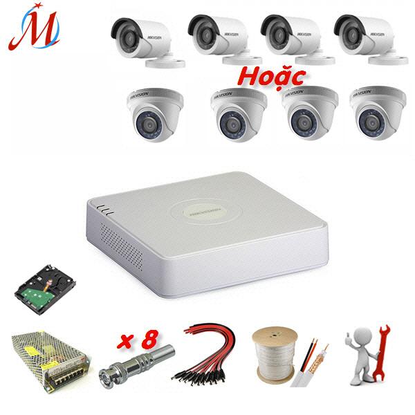 Trọn bộ 4 camera Hikvision 2.0 Megapixel - KM 40m dây cáp đồng trục