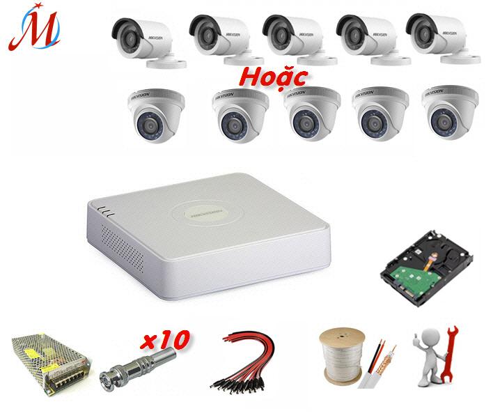 Trọn bộ 5 camera Hikvision 2.0 Megapixel - KM 50m dây cáp đồng trục
