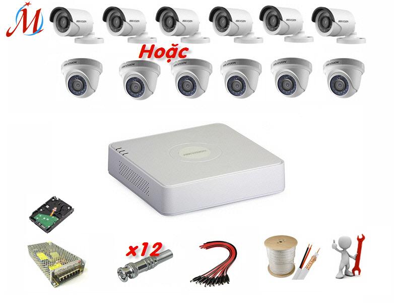 Trọn bộ 6 camera Hikvision 1.0 Megapixel - KM 60m dây cáp đồng trục