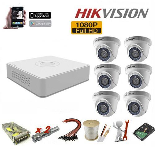 Trọn bộ 6 camera Hikvision 2.0 Megapixel - Sản phẩm chính hãng