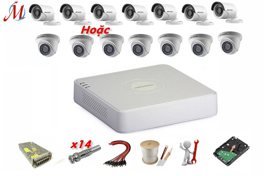 Trọn bộ 7 camera Hikvision 2.0 Megapixel - KM 70m dây cáp đồng trục
