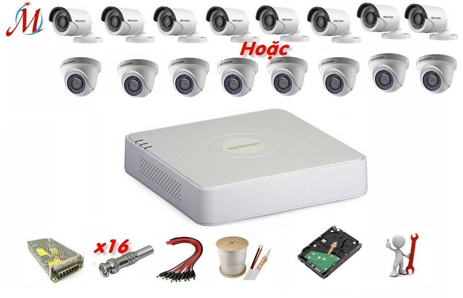 Trọn bộ 8 camera Hikvision 1.0 Megapixel - KM 80m dây cáp đồng trục