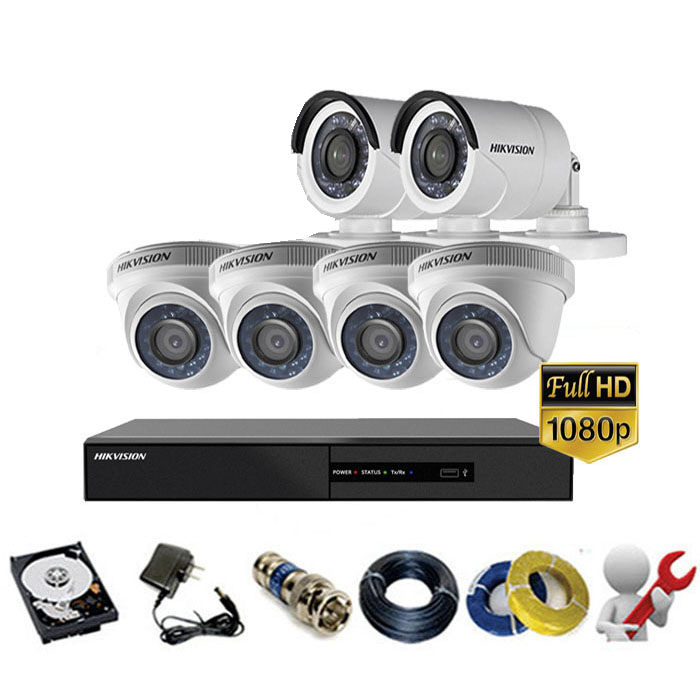 Trọn gói bộ 06 mắt Camera Hikvision 2MP-1080P