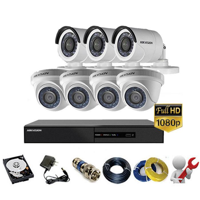 Trọn gói bộ 07 mắt Camera Hikvision 2MP-1080P