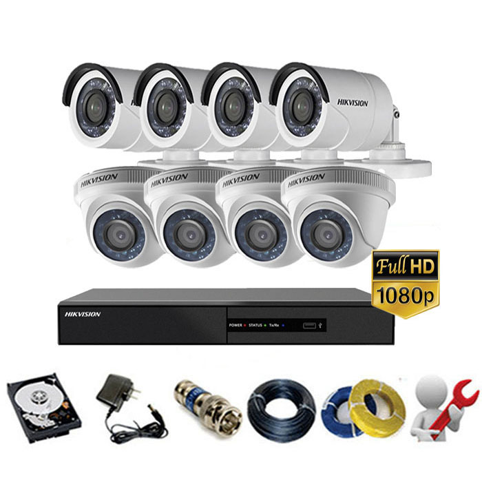 Trọn gói bộ 08 mắt Camera Hikvision 2MP-1080P