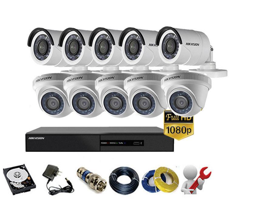 Trọn gói bộ 10 mắt Camera Hikvision 2MP-1080P